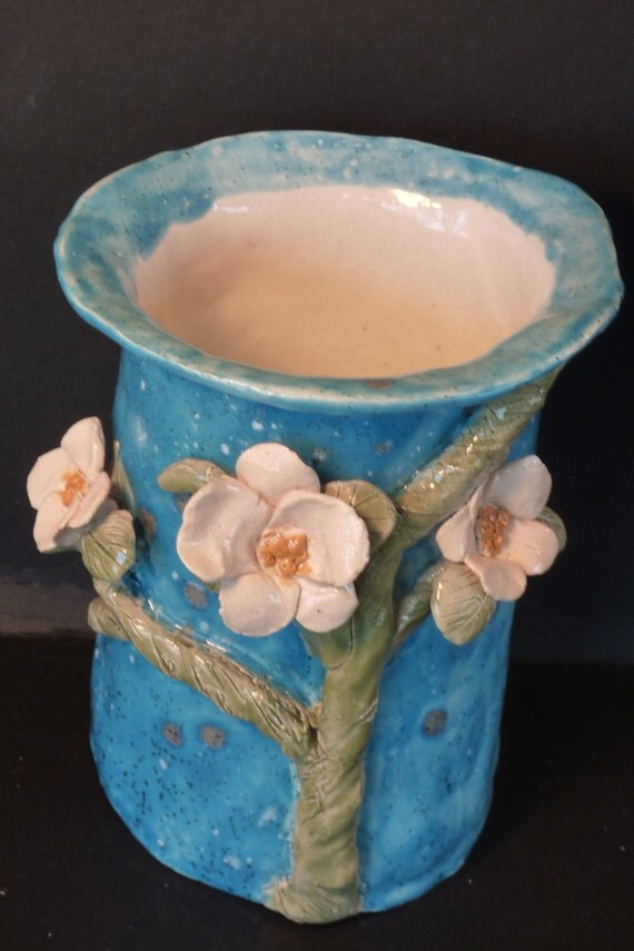 Dogwood fantasy vase, Handmade from a lump of clay beautiful dogwood vase  with  lucky ladybug..