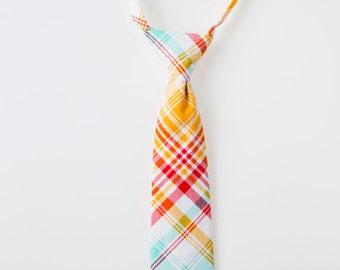 Little Boy Tie - Red, Orange, and Blue Plaid - Childrens Necktie