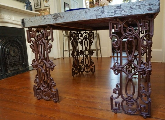 New Orleans Dining Room Table Made From Reclaimed Wood and Wrought Iron - New Orleans Dining Room Table Made From Reclaimed Wood And