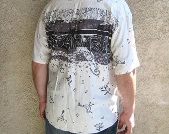 Vintage Mens Linen Shirt, Off white Bird Short sleeve Shirt, Linen / Viscose Abstract print Clothing, Summer fashion, Size L / XL 40 US UK