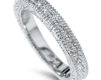 vs 35ct diamond vintage antique wedding ring anniversary band 14k white gold size 4 - Old Fashioned Wedding Rings