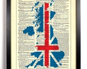 British Isles Union Jack Map, Home, Kitchen, Dorm, Office Decor, Wedding Gift, Eco Friendly Book Art, Vintage Dictionary Print, 8 x 10 in.