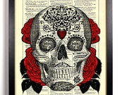 Sugar Skull 2 Day of the Dead Repurposed Book Upcycled Dictionary Art Vintage Book Print Recycled Vintage Dictionary Page