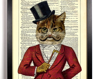 Casanova Cat With Monocle, Home, Kitchen, Nursery, Office Decor, Wedding Gift, Eco Friendly Book Art, Vintage Dictionary Print 8 x 10 in.