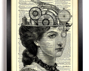 Queen Of Steam, Home, Kitchen, Nursery, Bathroom, Office Decor, Wedding Gift, Eco Friendly Book Art, Vintage Dictionary Print, 8 x 10 in.