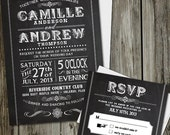 Chalkboard Wedding Invitations with RSVP card and White Envelopes Set in Quantity of 25