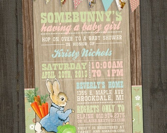 Peter Rabbit Invitation, Peter Rabbit Baby Shower, Bunny Baby Shower, Beatrix Potter Baby Shower, PRINTABLE, Peter Rabbit Birthday
