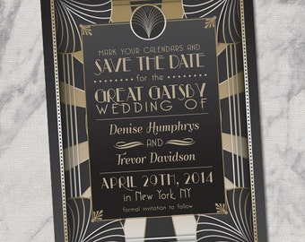 Retro Great Gatsby Style Art Deco 1920's PRINTABLE Save the Date Wedding Announcement