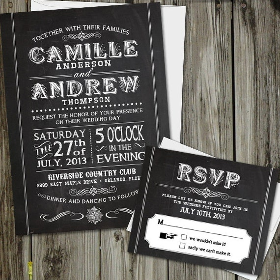 chalkboard wedding invitations with rsvp card and white, Wedding invitations
