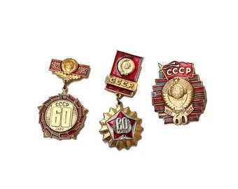 Vintage Russian  Badges / Pins. Gold and Red Soviet Memorabillia. CHOOSE ONE.