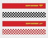 Lightening McQueen-ish Party Theme Mini Flags