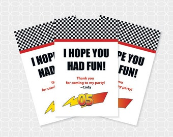 Racing Party Thank You Tags, Printable file, Personalized