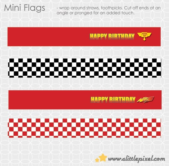 Party Printable Lightening McQueen-ish Party Theme Mini Flags