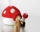 Felt toadstool / waldorf toy / Eco friendly mushroom / gnome house / fairy home / Felted bowl