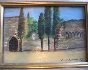 Vintage Miniature Framed Oil Painting of Villa Rufolo Italy Signed F.R.