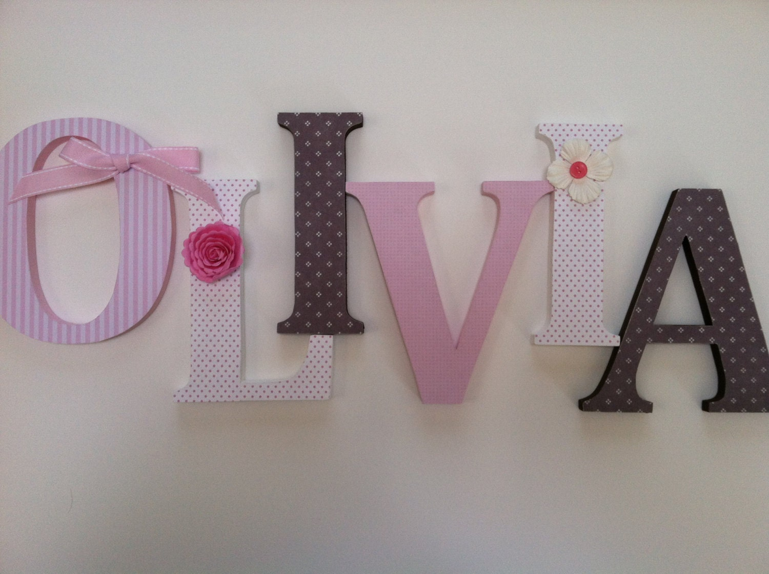 Alphabet wooden letters for nursery in pink white and brown for Standing wood letters to paint