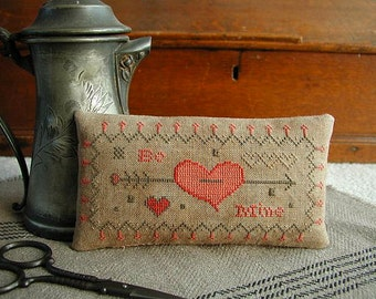 THREADWORK PRIMITIVES Be Mine Valentine's Day counted cross stitch patterns at thecottageneedle.com wedding love February