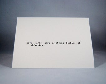 Valentines card definition of love anniversary wedding