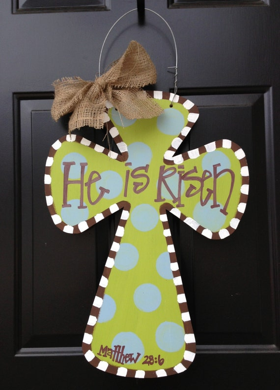 How To Change A Door Knob >> Items similar to Easter Wooden Cross Door Hanger on Etsy