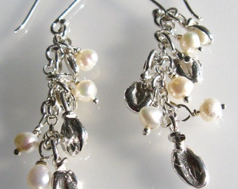 Wedding Earrings - Harvest Wheat Sterling Silver Earrings With Freshwater Pearls - OOAK Handmade Dangle Earrings
