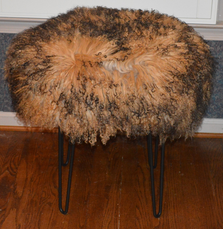 Mongolian Lamb Fur Stool Tibet Lamb 2 Tone Bench Real Made In