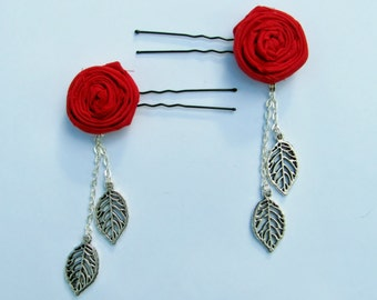 Red Rosettes with Silver Leaf Hairpins (Set of 2)