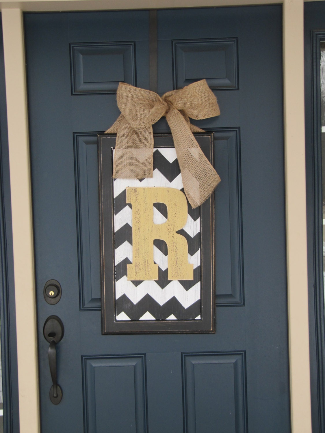 Spring door decor large chevron wood letter for front door for Door design accessories