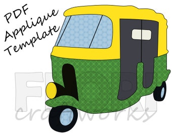 India Auto Rickshaw PDF Applique Template Pattern