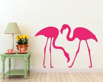2 Flamingo vinyl wall DECALs- interior design, sticker art, room, home and business decor, tattoo
