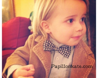 Bow Tie or Hair Bow Black & White Gingham Checkered // Clip On // Fits Baby Toddler Kid Adult