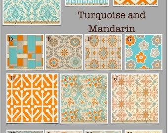 Custom Baby Crib Bedding -Design Your Own Modern Baby Bedding- Turquoise and Mandarin