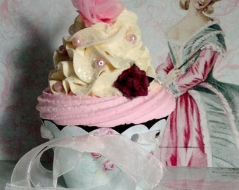 Marie Antoinette inspired Buttercream and Pink  Fake Cupcake, Let Them Eat Cake Photo Props, Victorian Shabby Cottage Home Cupcake Decor