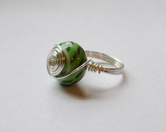 Mint Green and Gray Lampwork Bead Ring, Size 6