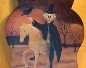 Original Halloween Folk Art  Hand Painted Wood Owl Shaped Trivet with Cloaked Warlock Riding a Horse