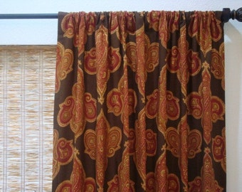 Window Curtain Panels Duralee Istanbul Ikat Medallion Unlined Drapes 1 pr.50x86