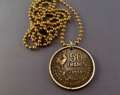 coin jewelry FRANCE COIN NECKLACE Franc Liberate Egalite Fraternite rooster cock pendant. brass chain .choose year. 1951 1952 1953 No.00903