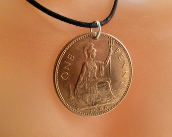 UK NECKLACE  . England coin jewelry. english necklace. british coin pendant. english coin. 1966 penny  No. 001310