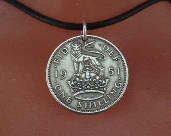 ENGLAND coin necklace coin jewelry .ENGLISH SHILLING . silver coin. great britain. lion crown. choose year  No.001376