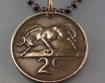 SOUTH AFRICA coin necklace . coin charm pendant.  wildebeest.  animal  coin.. copper. choose year No.00719
