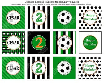 DIY  Soccer Birthday Party PRINTABLE Cupcake Toppers favor tags green orange sports