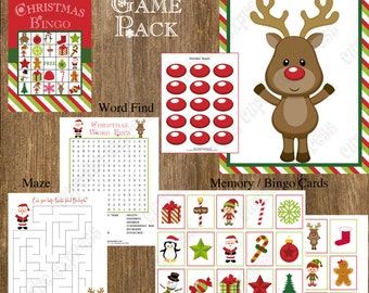 Christmas party, christmas games, PRINTABLES, christmas games for kids, printable games, Bingo, pin the nose on rudolph, maze, word find,