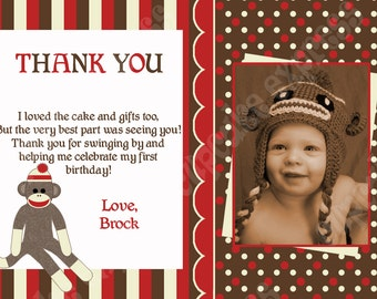 Sock Monkey Thank You Card photo  Birthday Printable Party personalized Thank You Card red brown monkey baby shower