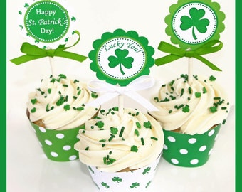 Sale 80% off INSTANT DOWNLOAD diy St. Patrick's Day  PRINTABLE Deluxe Party Package Cupcake Express
