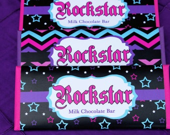 INSTANT DOWNLOAD diy Rockstar Girl  Printable Birthday Party Candy Bar wrappers  stars  Hot pink black teal purple rock star hershey's