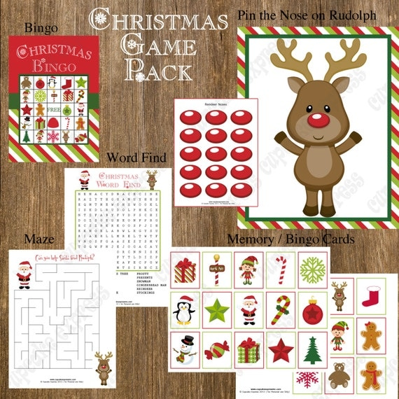 INSTANT DOWNLOAD Sale 50% off Christmas Game Pack Party PRINTABLE Bingo pin the nose on rudolph maze word find memory
