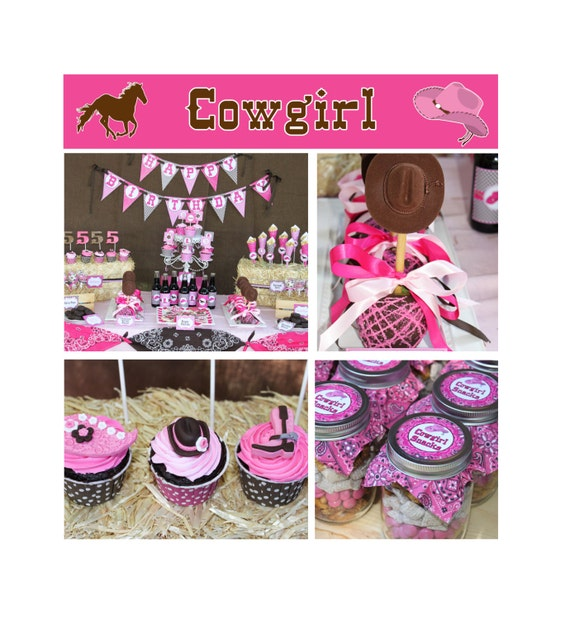 Diy cowgirl birthday party printable deluxe package pink brown hot