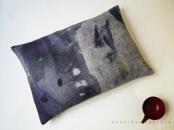 ON SALE // Chic Linen Oblong Cushion Blue Indigo.. Night Rain /  FRAGMENTS