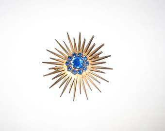 Stunning Vintage Blue Rhinestone Sunburst Pin/Pendant