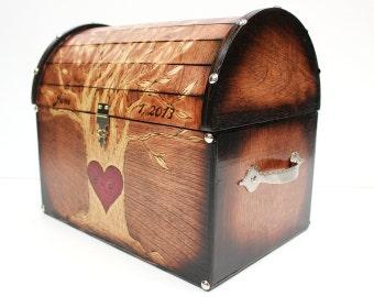 Full Tree Design: Wedding Card Rustic Chest Box CUSTOM