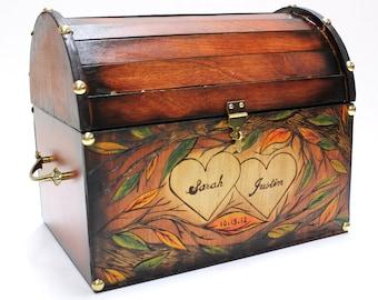 Autumn Leaves Design: Wedding Card Rustic Chest Box CUSTOM